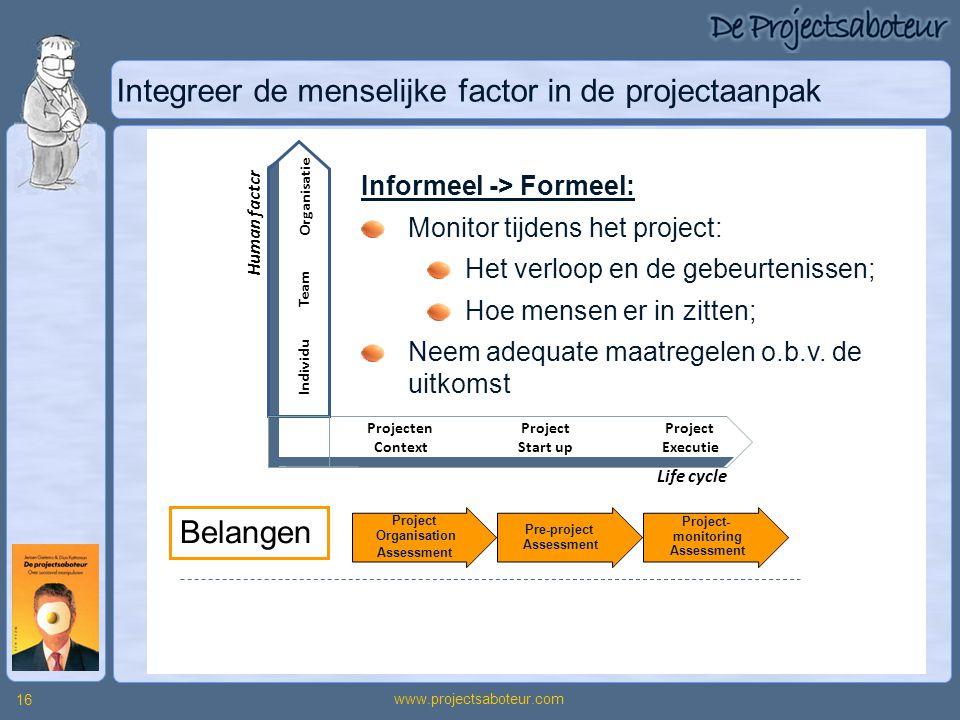 Integreer de menselijke factor in de projectaanpak