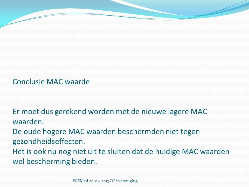 Conclusie MAC waarde Er moet dus gerekend worden met de nieuwe lagere MAC waarden. De oude hogere MAC waarden beschermden niet tegen gezondheidseffecten. Het is ook nu nog niet uit te sluiten dat de huidige MAC waarden wel bescherming bieden.
