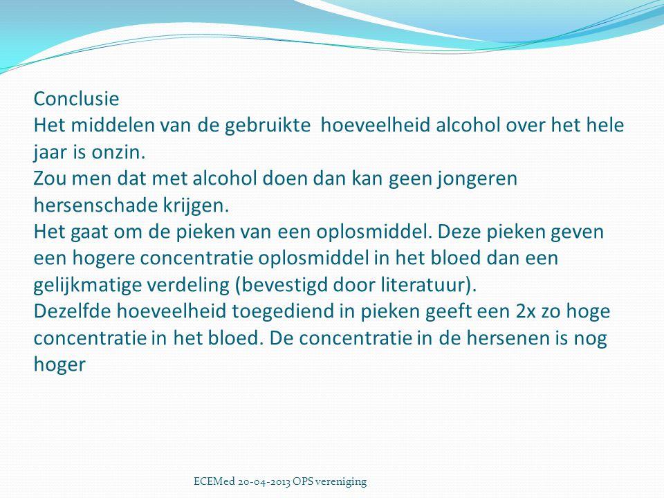Conclusie Het middelen van de gebruikte hoeveelheid alcohol over het hele jaar is onzin. Zou men dat met alcohol doen dan kan geen jongeren hersenschade krijgen. Het gaat om de pieken van een oplosmiddel. Deze pieken geven een hogere concentratie oplosmiddel in het bloed dan een gelijkmatige verdeling (bevestigd door literatuur). Dezelfde hoeveelheid toegediend in pieken geeft een 2x zo hoge concentratie in het bloed. De concentratie in de hersenen is nog hoger