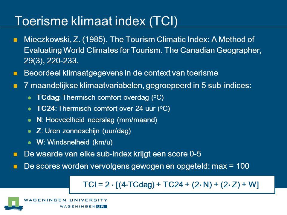 Toerisme klimaat index (TCI)