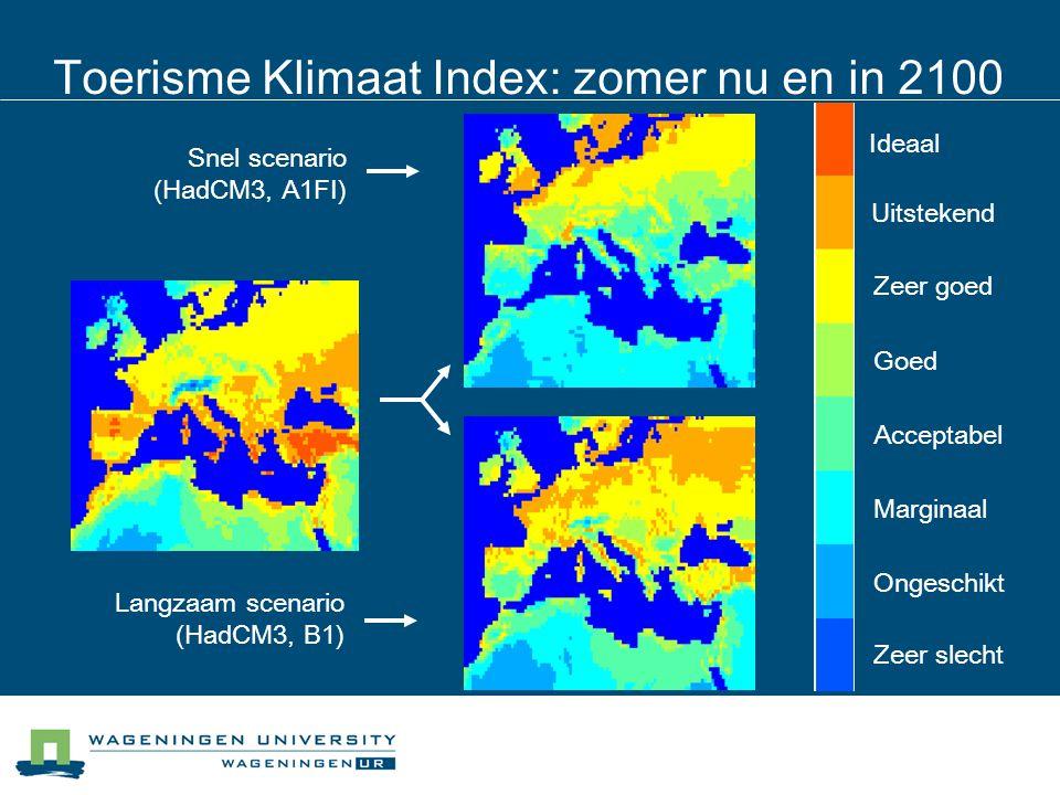 Toerisme Klimaat Index: zomer nu en in 2100