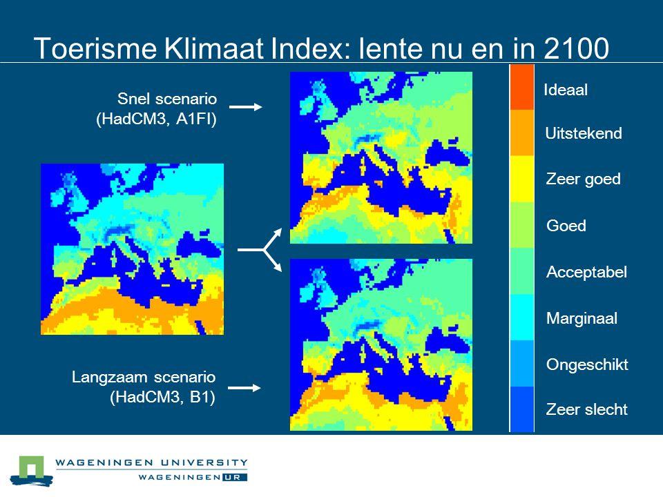 Toerisme Klimaat Index: lente nu en in 2100