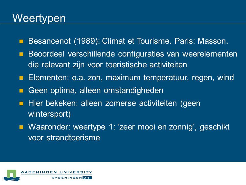 Weertypen Besancenot (1989): Climat et Tourisme. Paris: Masson.