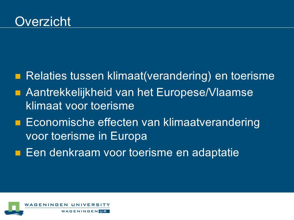 Overzicht Relaties tussen klimaat(verandering) en toerisme