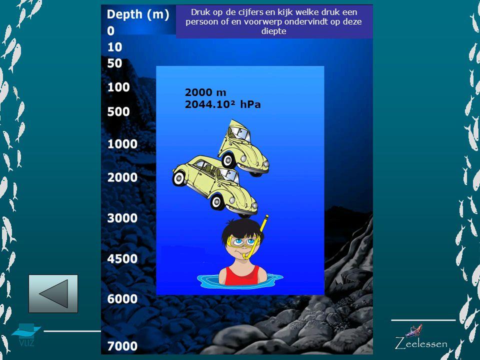 Druk op de cijfers en kijk welke druk een persoon of en voorwerp ondervindt op deze diepte