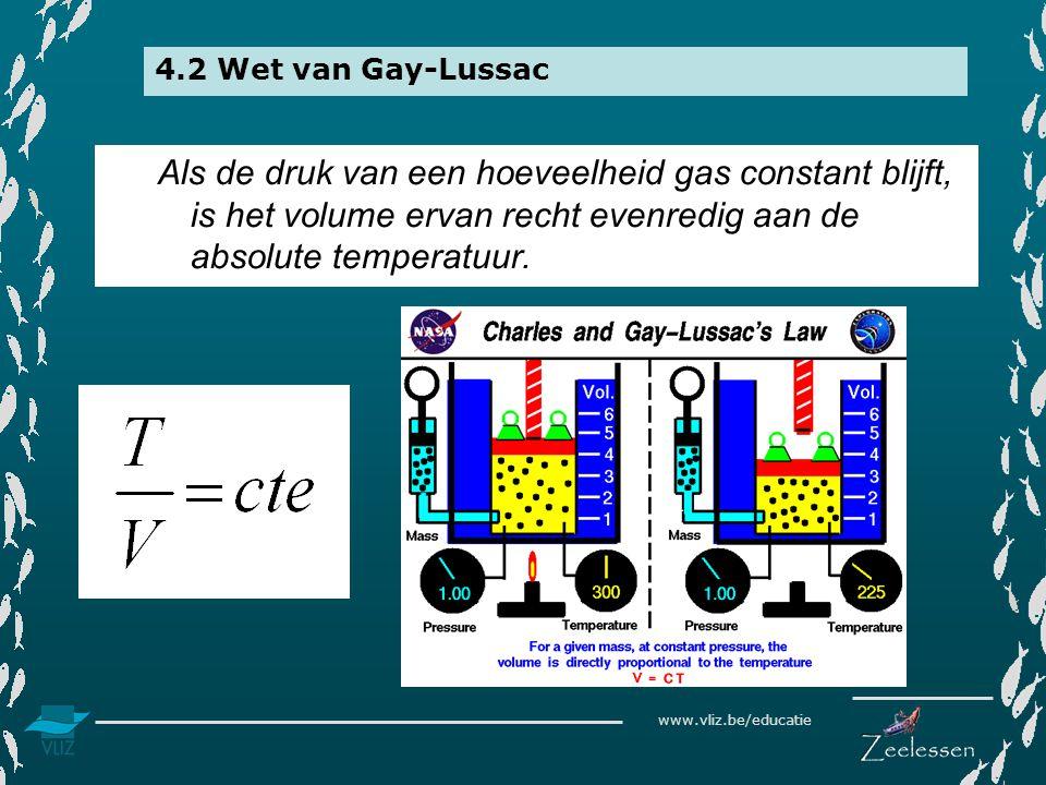 4.2 Wet van Gay-Lussac Als de druk van een hoeveelheid gas constant blijft, is het volume ervan recht evenredig aan de absolute temperatuur.