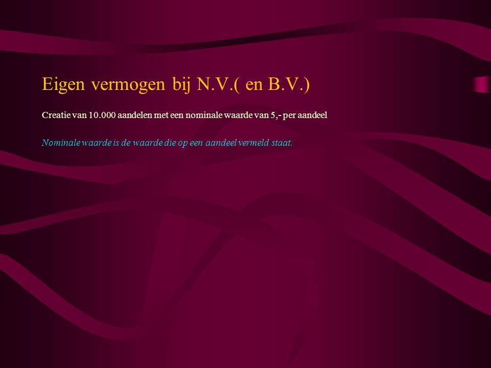 Eigen vermogen bij N.V.( en B.V.)