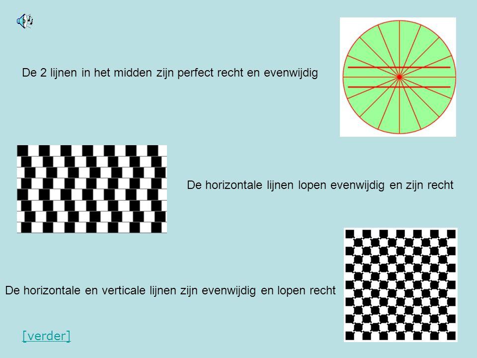 De 2 lijnen in het midden zijn perfect recht en evenwijdig