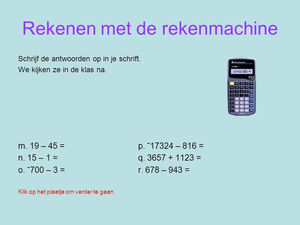 Rekenen met de rekenmachine