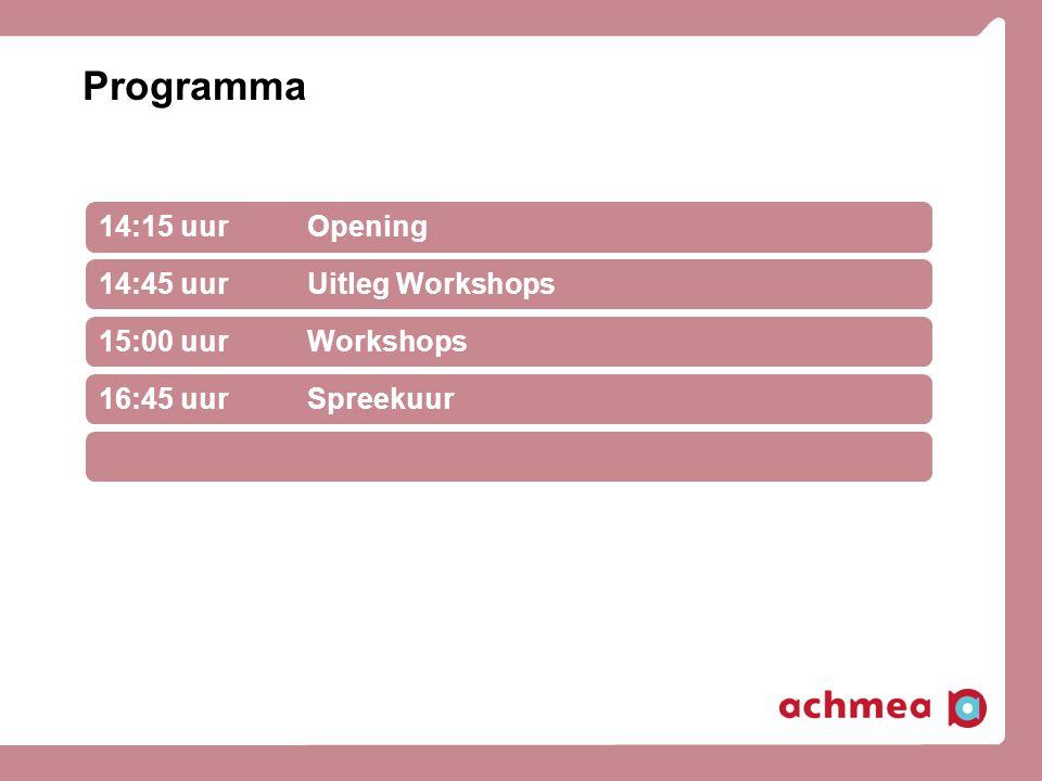 Programma 14:15 uur Opening 14:45 uur Uitleg Workshops
