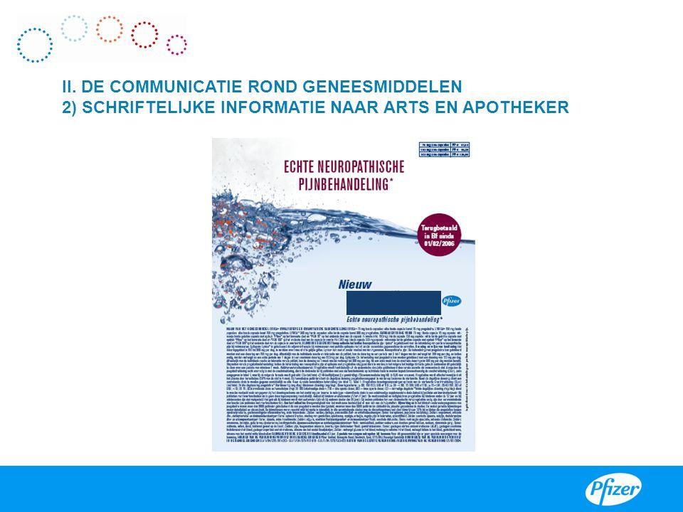 VIII II. DE COMMUNICATIE ROND GENEESMIDDELEN 2) SCHRIFTELIJKE INFORMATIE NAAR ARTS EN APOTHEKER.
