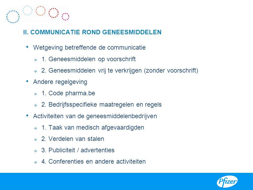 II. COMMUNICATIE ROND GENEESMIDDELEN