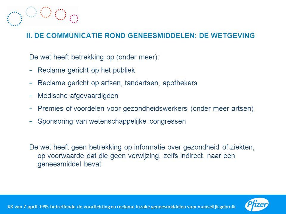 II. DE COMMUNICATIE ROND GENEESMIDDELEN: DE WETGEVING