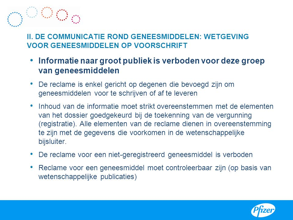 VIII II. DE COMMUNICATIE ROND GENEESMIDDELEN: WETGEVING VOOR GENEESMIDDELEN OP VOORSCHRIFT.