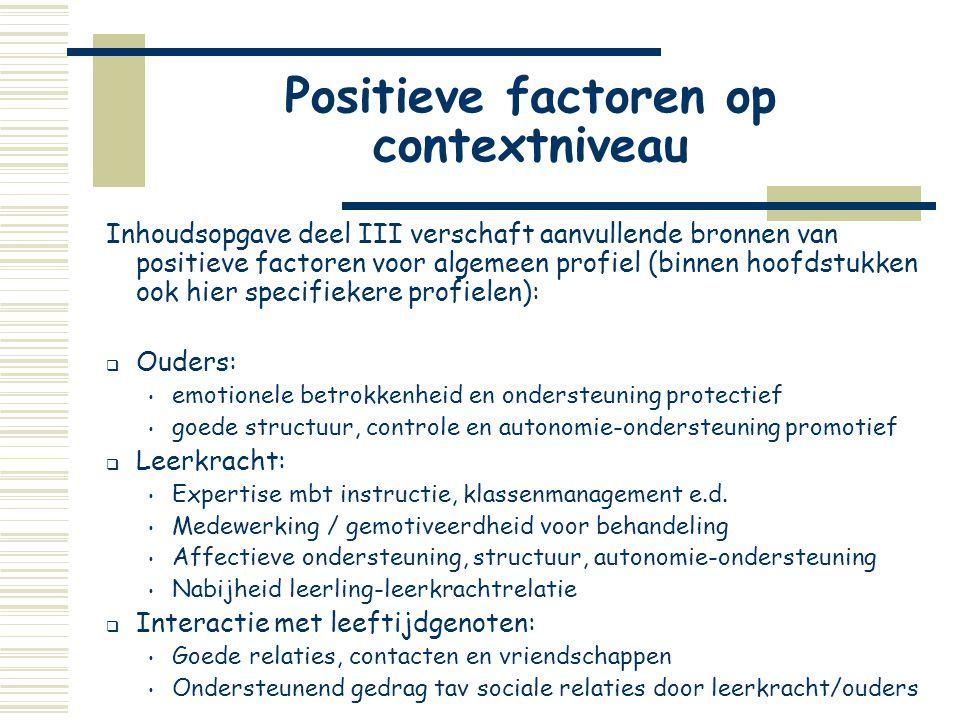 Positieve factoren op contextniveau