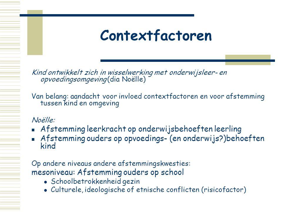 Contextfactoren Afstemming leerkracht op onderwijsbehoeften leerling