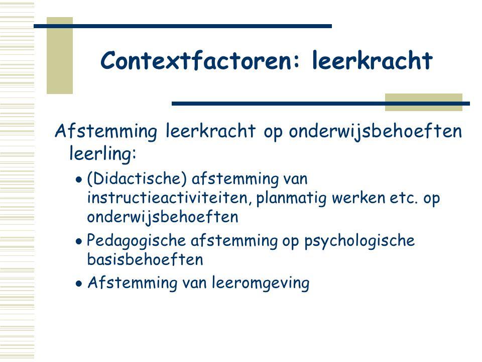 Contextfactoren: leerkracht