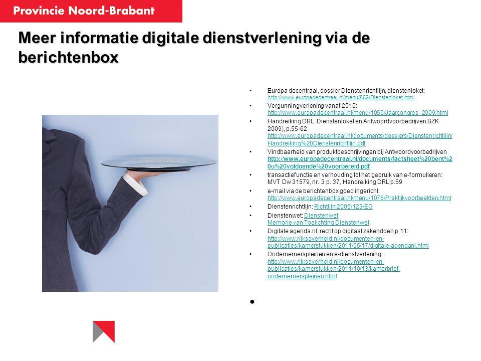 Meer informatie digitale dienstverlening via de berichtenbox