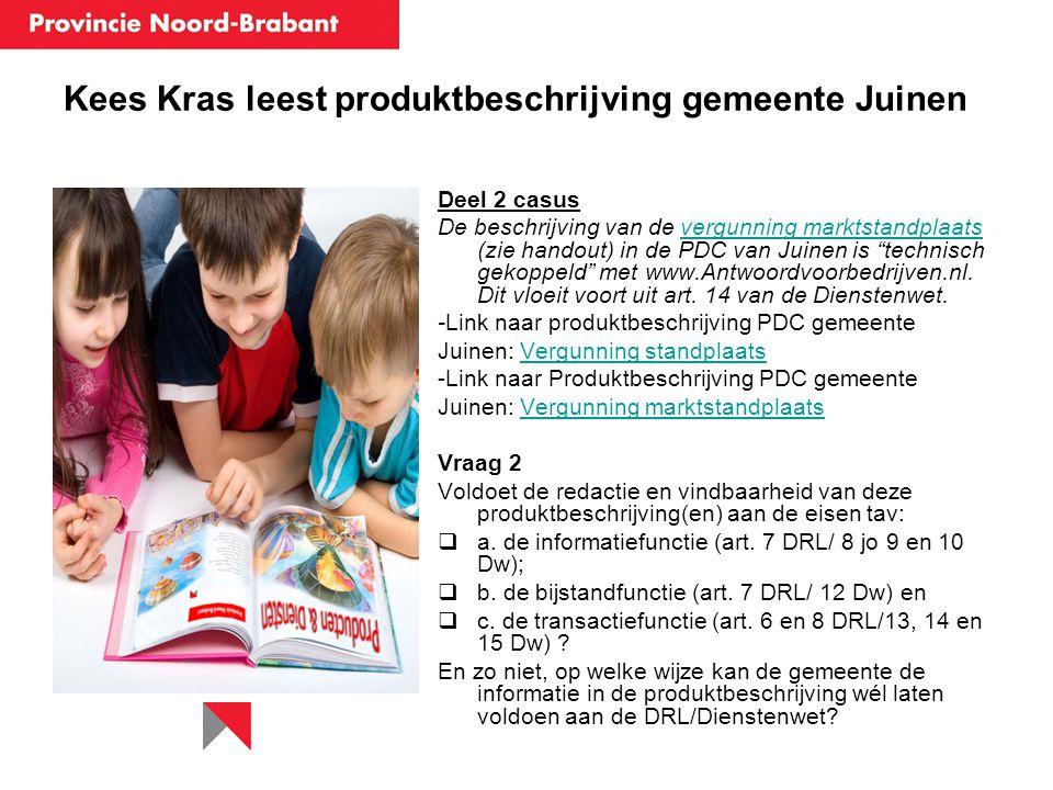 Kees Kras leest produktbeschrijving gemeente Juinen