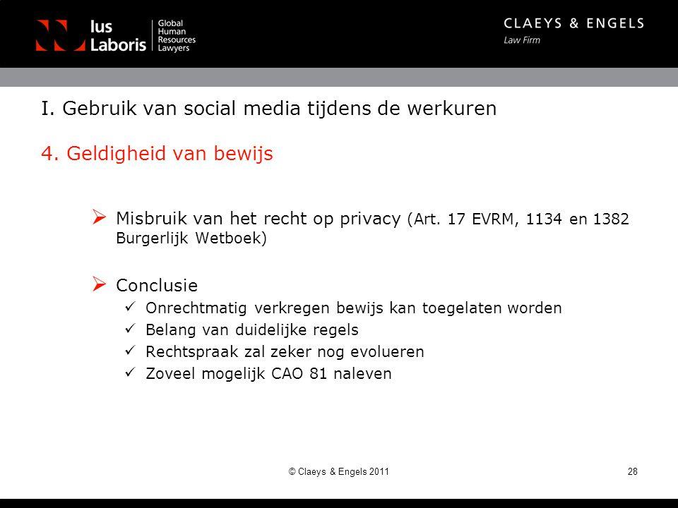 I. Gebruik van social media tijdens de werkuren 4