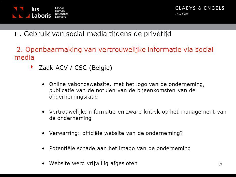 II. Gebruik van social media tijdens de privétijd 2