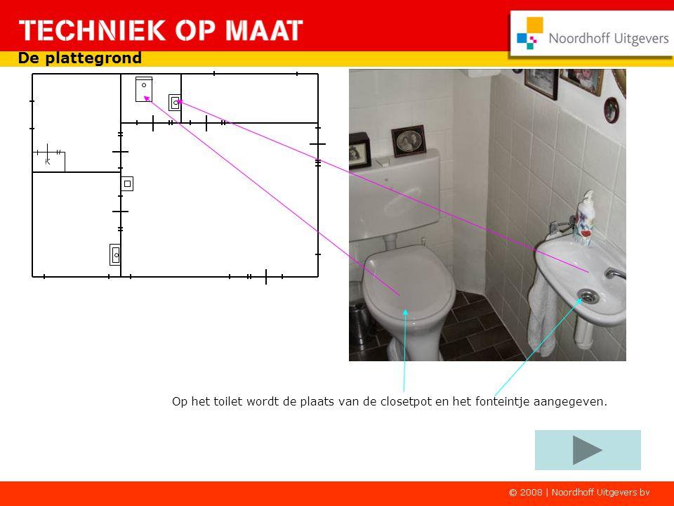 De plattegrond K Op het toilet wordt de plaats van de closetpot en het fonteintje aangegeven.
