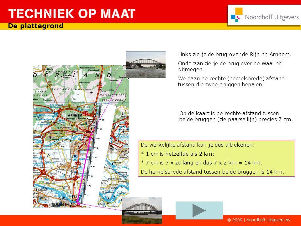 De plattegrond Links zie je de brug over de Rijn bij Arnhem.