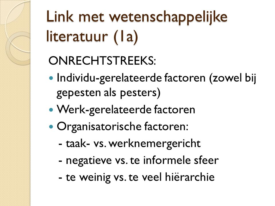 Link met wetenschappelijke literatuur (1a)