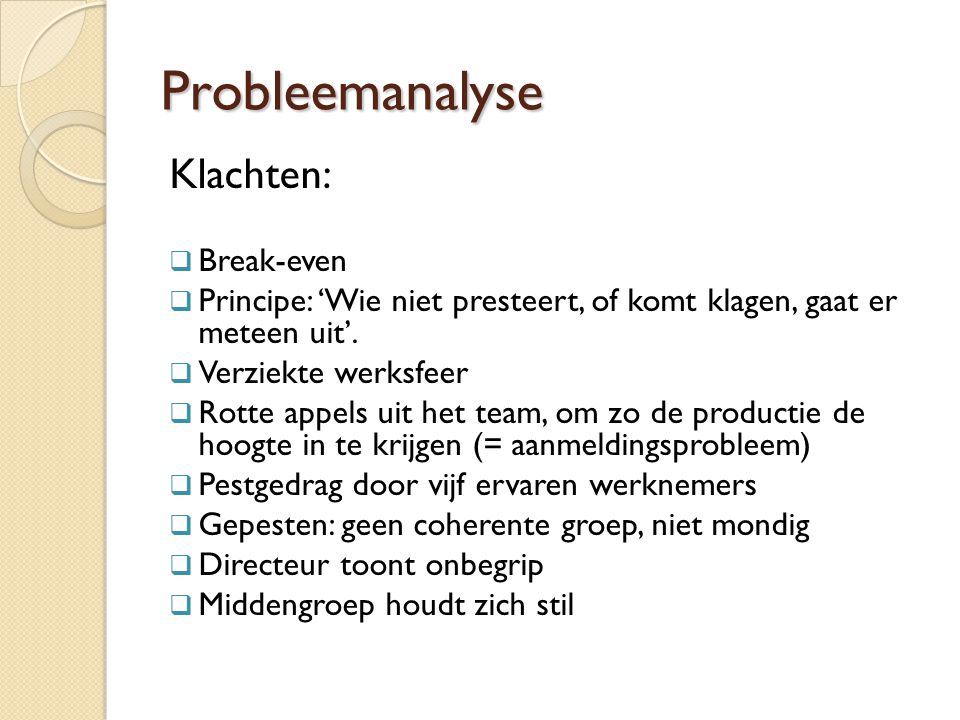 Probleemanalyse Klachten: Break-even