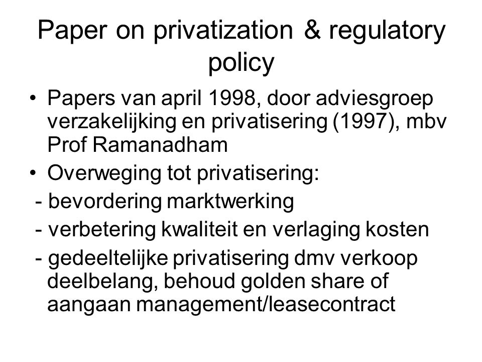 Paper on privatization & regulatory policy