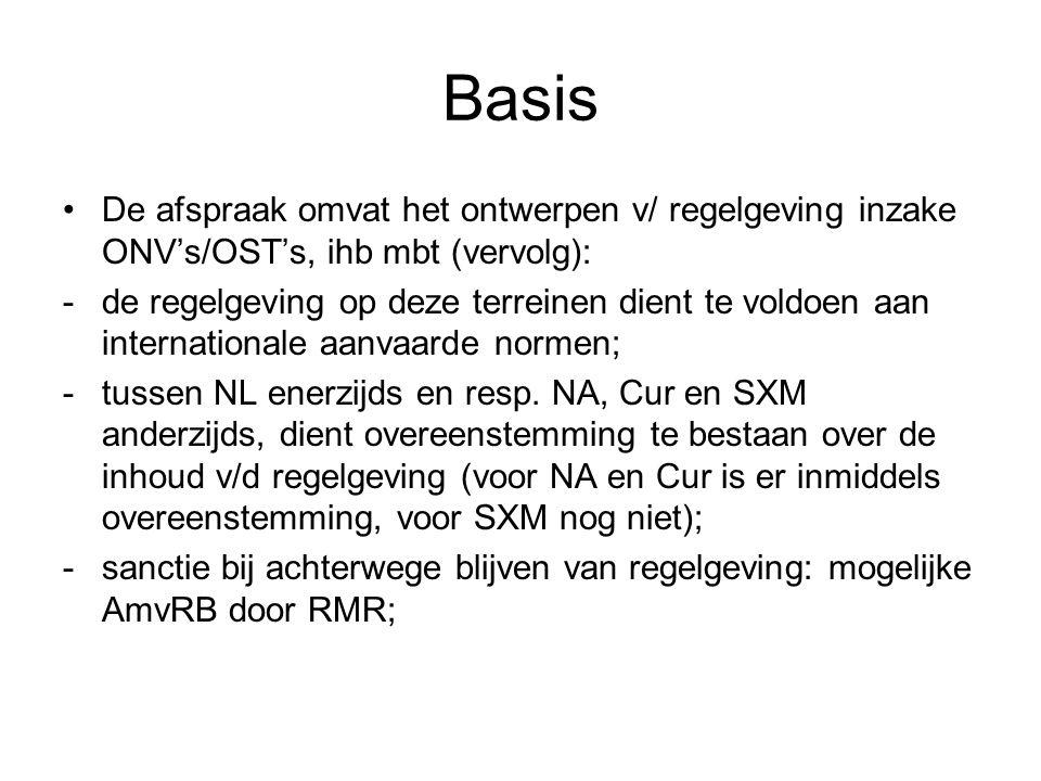 Basis De afspraak omvat het ontwerpen v/ regelgeving inzake ONV's/OST's, ihb mbt (vervolg):