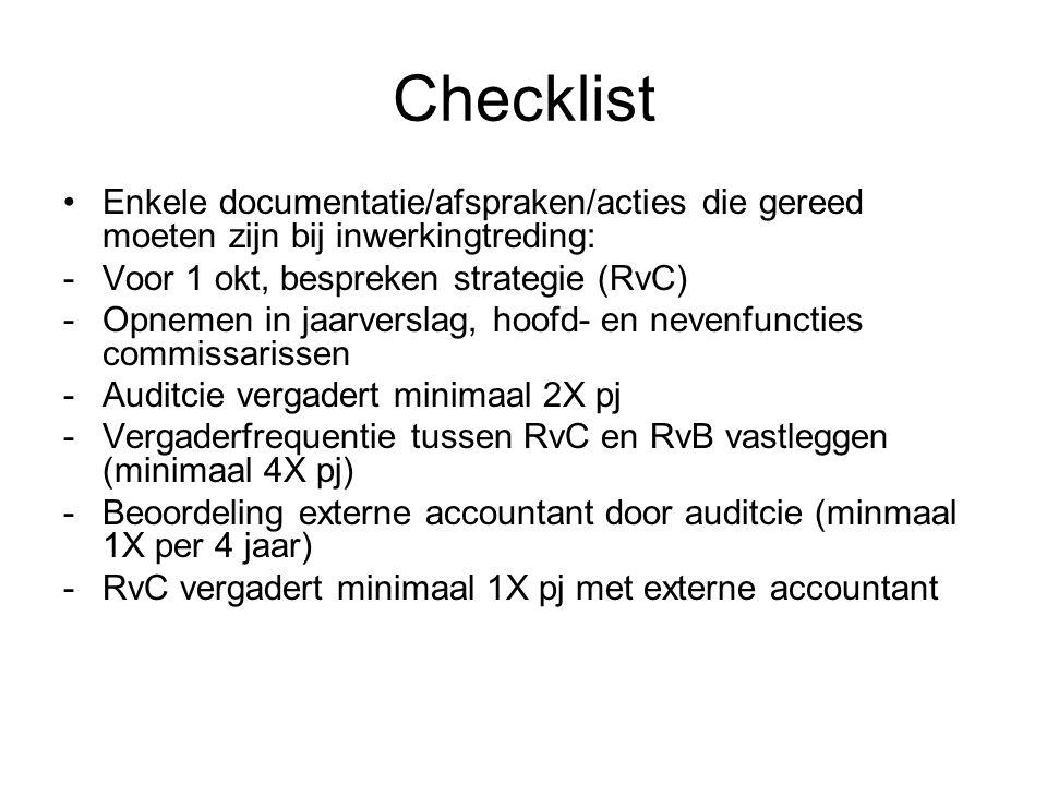 Checklist Enkele documentatie/afspraken/acties die gereed moeten zijn bij inwerkingtreding: Voor 1 okt, bespreken strategie (RvC)