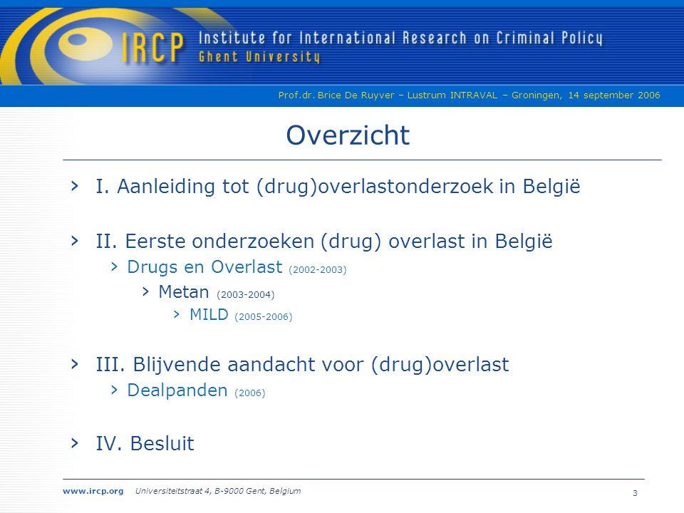 Overzicht I. Aanleiding tot (drug)overlastonderzoek in België