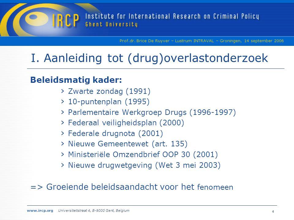 I. Aanleiding tot (drug)overlastonderzoek