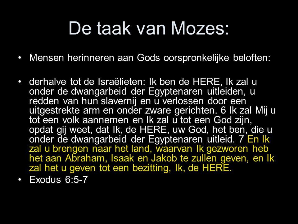 De taak van Mozes: Mensen herinneren aan Gods oorspronkelijke beloften: