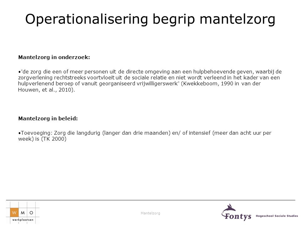 Operationalisering begrip mantelzorg