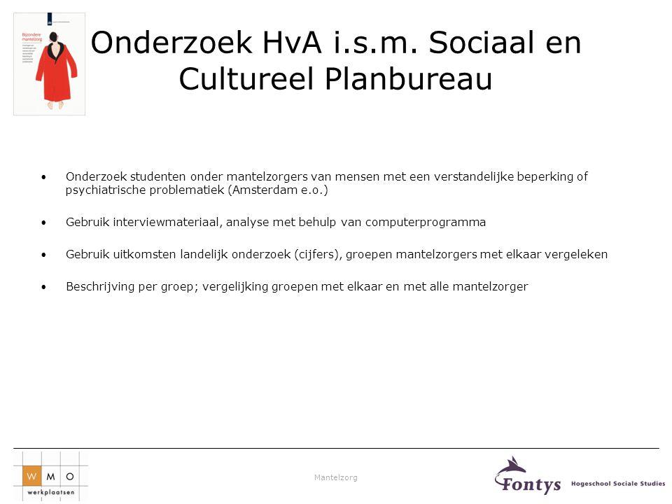 Onderzoek HvA i.s.m. Sociaal en Cultureel Planbureau