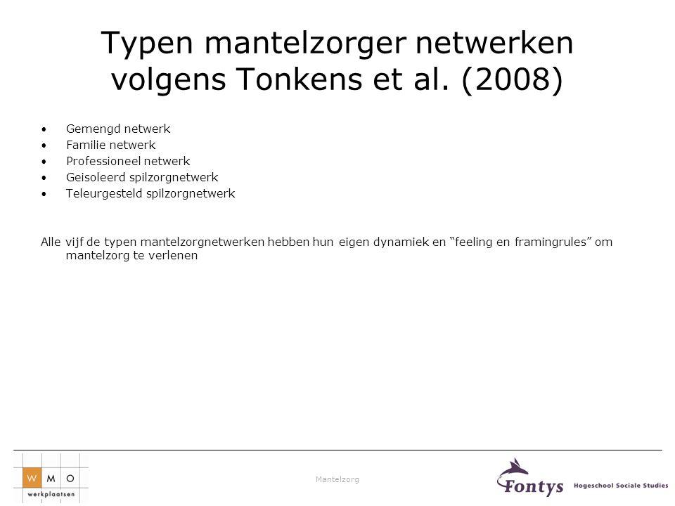 Typen mantelzorger netwerken volgens Tonkens et al. (2008)