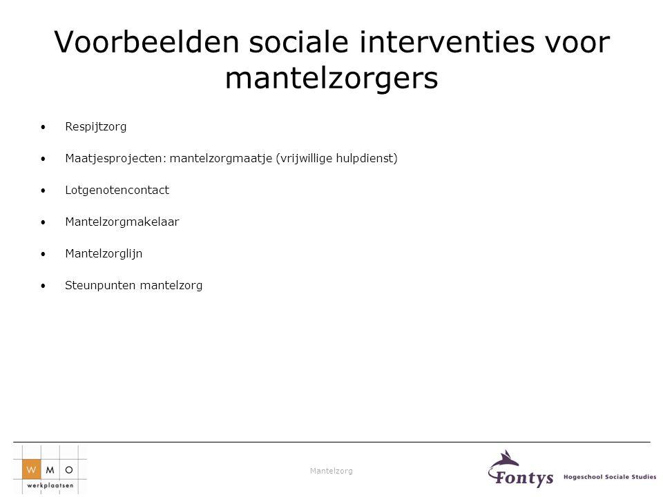 Voorbeelden sociale interventies voor mantelzorgers