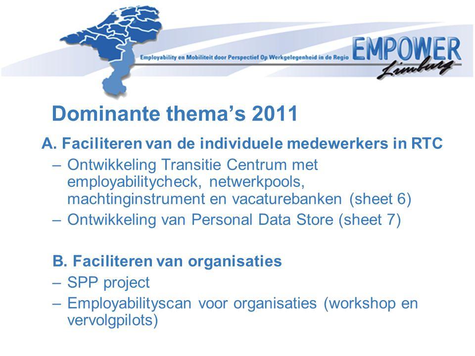 Dominante thema's 2011 A. Faciliteren van de individuele medewerkers in RTC.