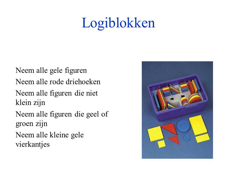 Logiblokken Neem alle gele figuren Neem alle rode driehoeken