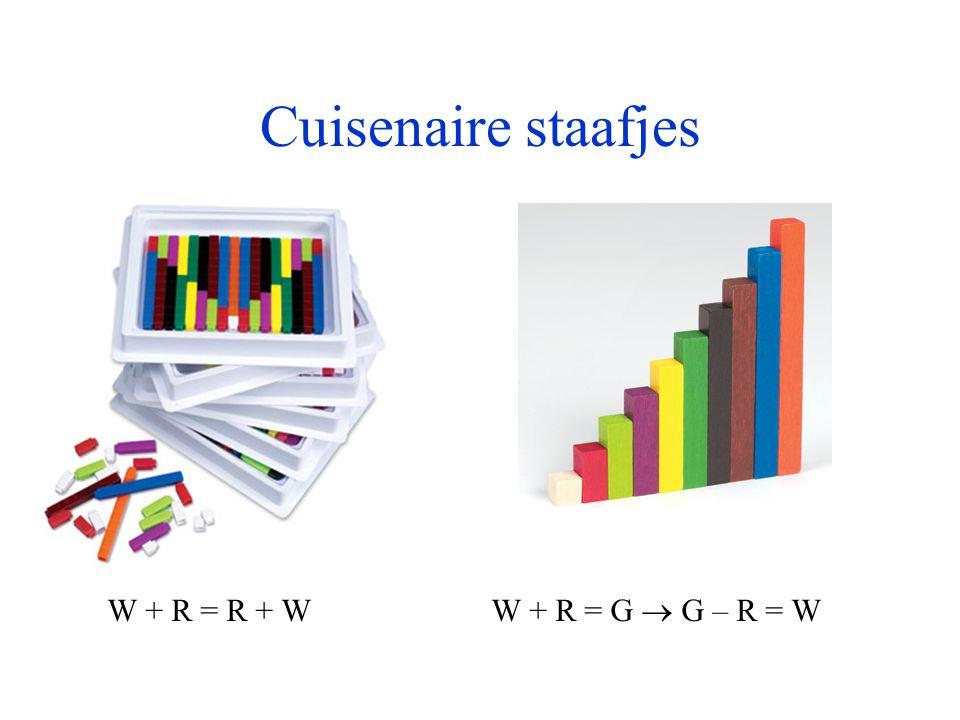 Cuisenaire staafjes W + R = R + W W + R = G  G – R = W