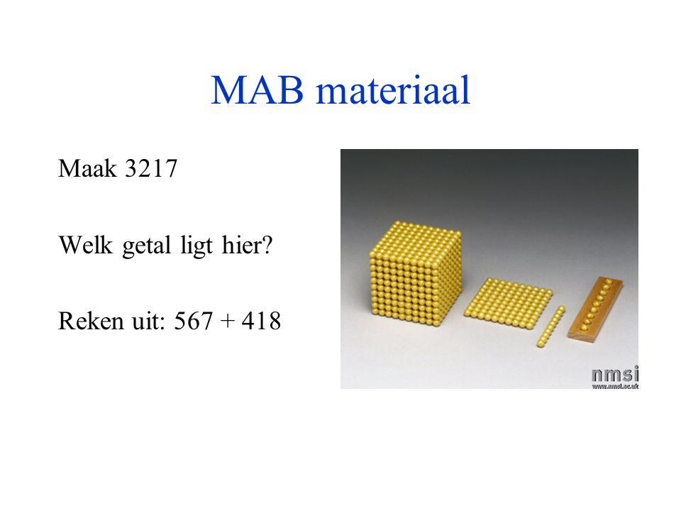 MAB materiaal Maak 3217 Welk getal ligt hier Reken uit: 567 + 418