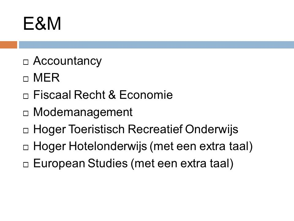 E&M Accountancy MER Fiscaal Recht & Economie Modemanagement