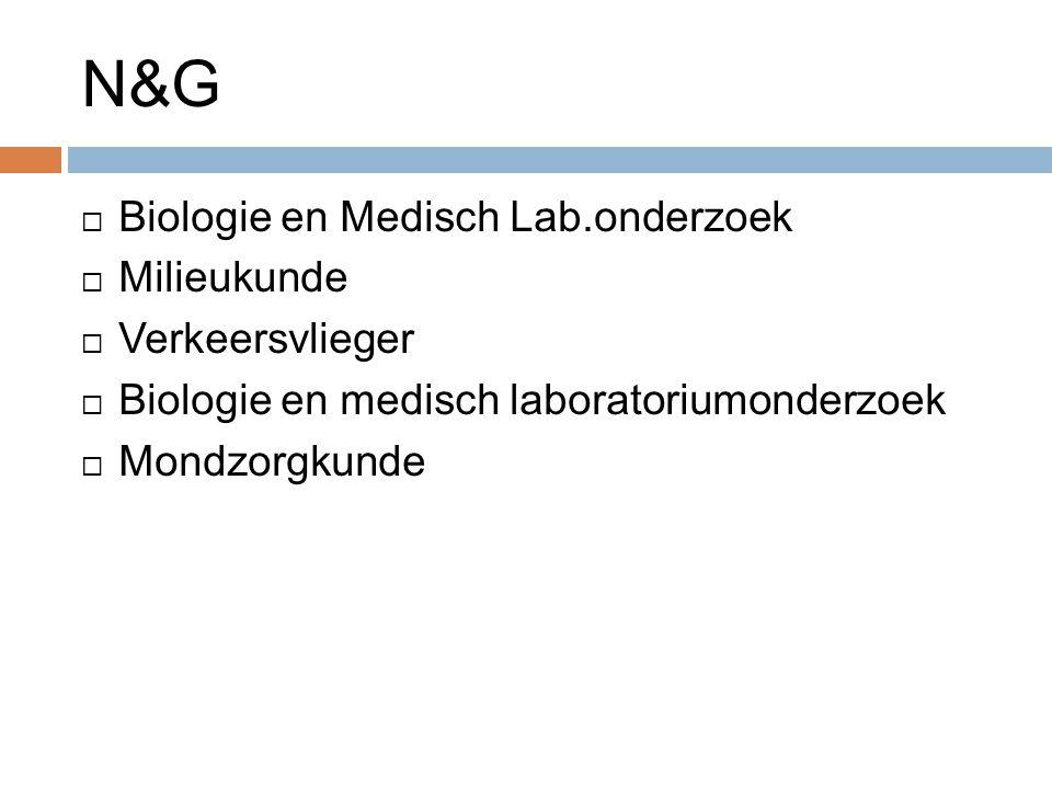 N&G Biologie en Medisch Lab.onderzoek Milieukunde Verkeersvlieger
