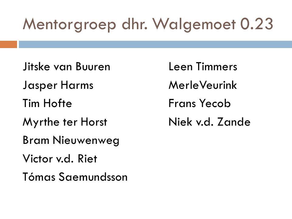 Mentorgroep dhr. Walgemoet 0.23