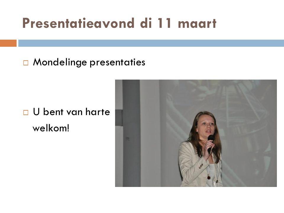 Presentatieavond di 11 maart