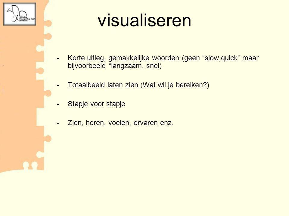 visualiseren Korte uitleg, gemakkelijke woorden (geen slow,quick maar bijvoorbeeld langzaam, snel)