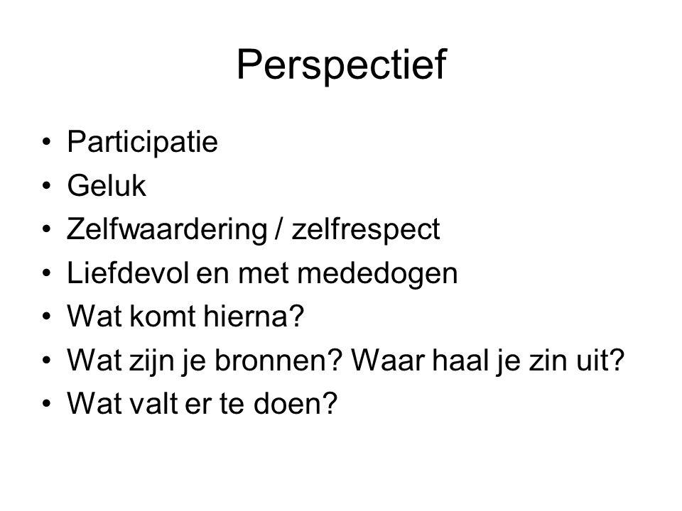 Perspectief Participatie Geluk Zelfwaardering / zelfrespect