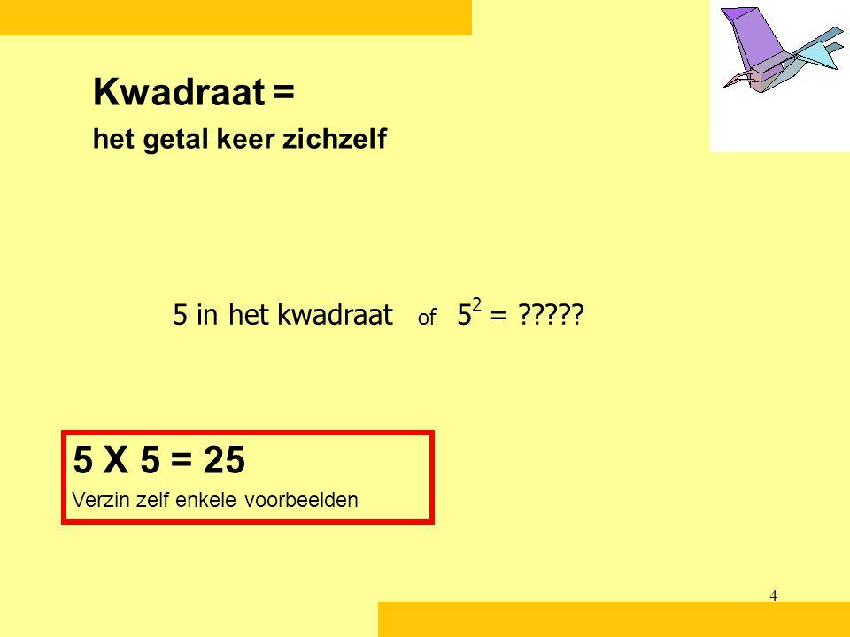 Kwadraat = 5 X 5 = 25 het getal keer zichzelf